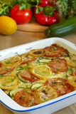 Vegetable baked pudding with lemon Stock Photos