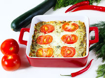 Vegetable baked pudding Stock Image