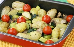 Vegetable baking tray Royalty Free Stock Image