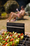 Vegetable Barbecue Shish-kebab sunbathing girl. Various colorful and healthy vegetables grill in a barbecue. Shish-kebabs made with mushrooms,peppers,cherry royalty free stock photography