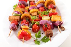 Vegetable barbecue skewer. Close up on vegetable barbecue skewer Stock Photo