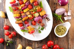 Vegetable barbecue skewer. Top view royalty free stock photography