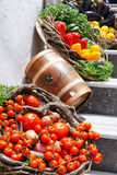 Vegetable and Barrel. In Santorini island, Greece Stock Photography