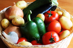 Vegetables in basket. A close up of a basket full of vegetables Royalty Free Stock Photo