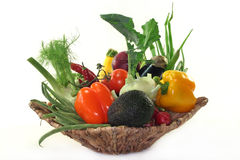 Vegetable basket. A basket filled with various vegetables Royalty Free Stock Image