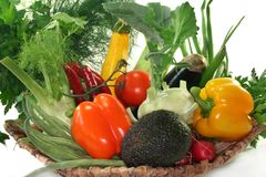 Vegetable basket. A basket filled with various vegetables Stock Photography