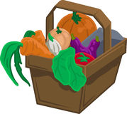 Vegetable basket. Basket of vegetable and produce royalty free illustration