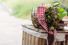 Vegetable basket. Close up a vegetable basket and red books on the weave box Royalty Free Stock Images