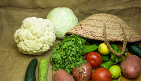 Vegetable basket in cuisine Royalty Free Stock Photography