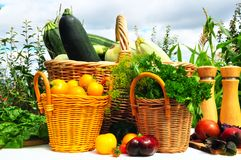 Vegetable are in a basket Stock Photos