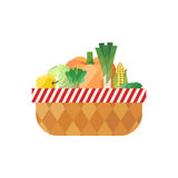 Vegetable basket isolated (pepper, cabbage, spinach, pumpkin, leek, corn, cucumber).  Modern flat design. Stock Photography