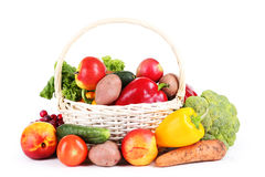 Vegetable in basket isolated on white. Royalty Free Stock Image