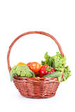 Vegetable in basket isolated on white background Stock Images