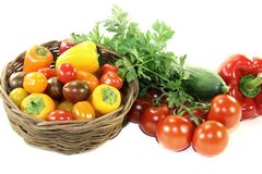 Vegetable basket with mixed colorful vegetables Royalty Free Stock Photo