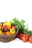 Vegetable basket with mixed vegetables royalty free stock images