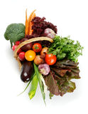 Vegetable Basket Top View Stock Photos