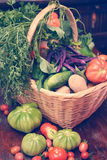 Vegetable basket-vintage Stock Photography