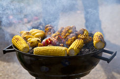 Vegetable BBQ. Vegetable barbecue for vegetarians during summer holidays Royalty Free Stock Image