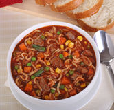 Vegetable Beef and Noodle Soup Royalty Free Stock Image