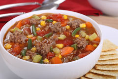 Vegetable Beef Soup. Closeup of a bowl of vegetable beef soup Stock Photo