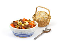 Vegetable Beef Soup and Crackers Royalty Free Stock Image