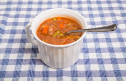 Vegetable Beef Soup in White Mug Royalty Free Stock Photos
