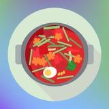 Vegetable beet soup borsch flat Royalty Free Stock Photography