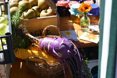 Vegetable from biologic fields. The traditional folk festivals in the Veneto Dolomites, Italy, with parties, dances, and exhibitions of local products stock image