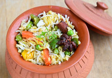 Vegetable Biryani. Biryani, biriani, or beriani is a set of rice-based foods made with spices, rice (usually basmati) and meat, fish, eggs or vegetables stock image