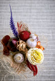 Vegetable bouquet. On striped linen cloth background stock images
