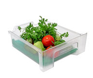 Vegetable box. Isolated on white background Stock Photos