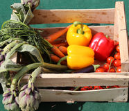 vegetable box with peppers and artichokes Royalty Free Stock Photo