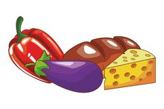 Vegetable and bread. With cheese vector illustration graphic design royalty free illustration
