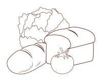 Vegetable and bread. Lettuce tomato vector illustration graphic design vector illustration