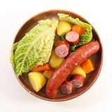 Vegetable, broth and sausage royalty free stock images