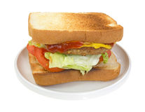 Vegetable burger sandwich with fixings Stock Photo