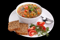Vegetable cabbage and mushroom soup Stock Images