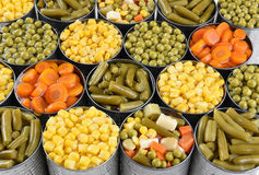 Vegetable Cans Closeup Royalty Free Stock Photo