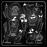 Vegetable cartoon  on chalkboard background. Royalty Free Stock Photos