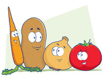 Vegetable Cartoon Characters. Tomato, Carrot, Potato, and Onion mascot illustrations Stock Photography