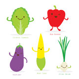 Vegetable Cartoon Cute Set Chiness Cabbage Sweet Pepper Eggplant Baby Corn Spring Onion Vector Royalty Free Stock Image