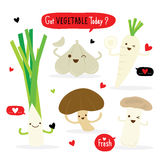 Vegetable Cartoon Cute Set Radish Shiitake Eringii Mushroom Garlic Leek Vector. Design Royalty Free Stock Photos