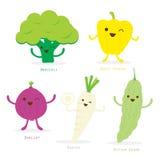 Vegetable Cartoon Cute Set Sweet Pepper Broccoli Shallot Radish Bitter Gourd Vector royalty free illustration