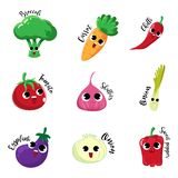 Vegetable cartoon emotion friendly and happy smile stock illustration