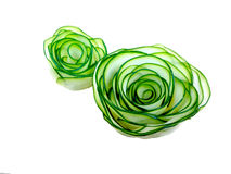 Vegetable is carved in form of flowers roses from Japanese cucumber. royalty free stock image