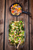 Vegetable casserole with baked cheese Stock Photos