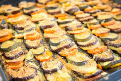 Vegetable casserole on a baking sheet. Dish of vegetables in autumn. Royalty Free Stock Image