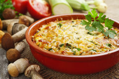 Vegetable casserole with mushrooms Royalty Free Stock Image
