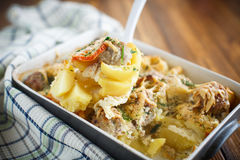 Vegetable casserole with potatoes and meatballs Royalty Free Stock Photos