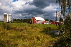 Vegetable and Cattle Farm in Pennsylvina. Photo of vegetable farm`s red barns and silos for storing grain Stock Photography